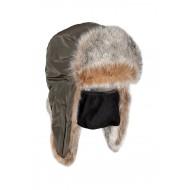 Шапка ушанка зимняя Евро Волк цвет Хаки ткань Taslan