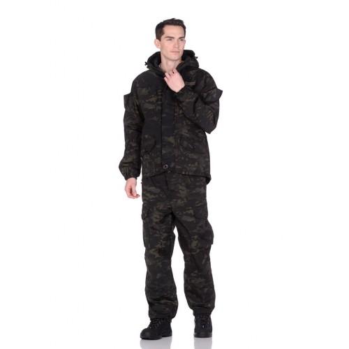 Костюм летний Горка-5 цвет Черный мультикам ткань Смесовая Рип-Стоп