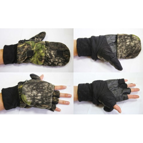 Варежки-перчатки с клапаном, тк. Флис,  цвет лес