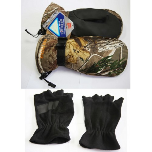 Рукавицы+перчатки 2в1, Special bird, тк. Алова, цвет лес