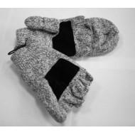 Варежки-перчатки с клапаном, вязанные,
