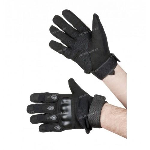 Перчатки тактические со вставкой, черные