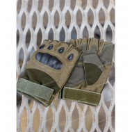 Перчатки тактические со вставкой, без пальцев, олива