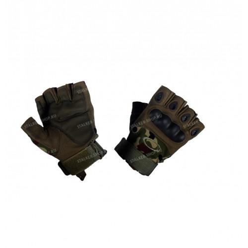 Перчатки тактические со вставкой, без пальцев, woodland