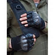 Перчатки тактические со вставкой карбон, без пальцев, черн.