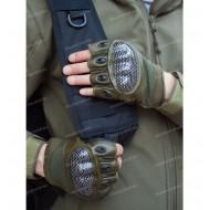 Перчатки тактические со вставкой карбон, без пальцев, олива