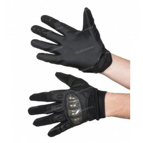Перчатки тактические со вставкой карбон, черные