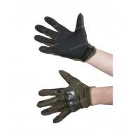 Перчатки тактические со вставкой карбон, олива