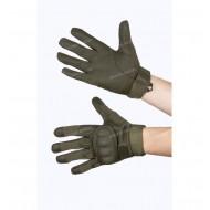 Перчатки тактические Кожаные со вставкой, 2 застежки, олива